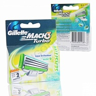 GILLETTE Кассеты MACH-3 Turbo Aloe 2шт